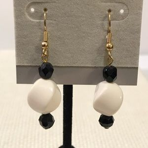 Pierced Earrings off white and black vintage bead